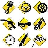 Automobiele en het Rennen pictogrammen Stock Afbeelding
