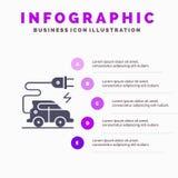 Automobieltechnologie, Elektrische Auto, Elektrisch voertuig Stevig Pictogram Infographics 5 de Achtergrond van de Stappenpresent royalty-vrije illustratie