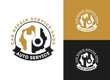 Automobil, Autoreparaturservice-Logodesign, Schlüssel in der Gangikone, Mechaniker bearbeitet Vektorillustration vektor abbildung