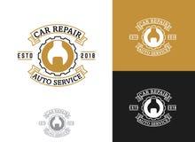 Automobil, Autoreparaturservice-Logodesign, Schlüssel in der Gangikone, Mechaniker bearbeitet Vektorillustration stock abbildung
