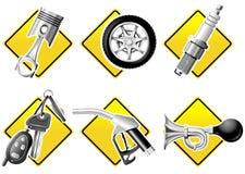 Automobil- und laufenikonen Lizenzfreies Stockfoto