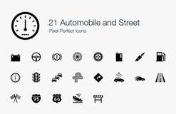 21 Automobil und Straßen-Pixel-perfekte Ikonen Lizenzfreie Stockfotografie