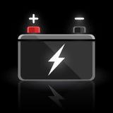 Automobil-12-Volt-Autobatteriedesign des Konzeptes auf schwarzem Hintergrund Stockfotografie