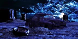 Automobile abbandonata deserto Fotografie Stock Libere da Diritti