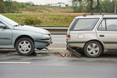 Automobile accident and crash on street Royalty Free Stock Image