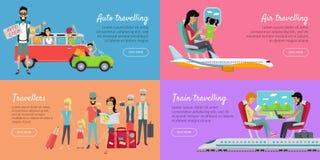 Automobile, air, déplacement de train et bannière de voyageurs illustration libre de droits