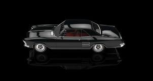 Automobile americana classica sulla vista superiore del fondo nero Immagini Stock Libere da Diritti