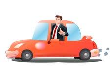 Automobile arancio di guida Fotografia Stock