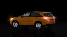 Automobile arancio generica di SUV su fondo nero, vista posteriore Immagine Stock
