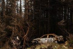 Automobile arrugginita nella foresta di Connemara fotografia stock