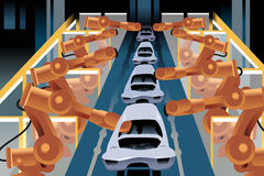 Automobile assembly line vector illustration