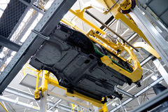 Automobile assembly shop panorama Royalty Free Stock Image