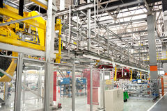 Automobile assembly shop panorama Royalty Free Stock Photos