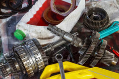 Automobile automatic transmission overhaul. Royalty Free Stock Photography
