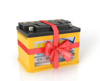 Automobile Batteries shrouded red ribbon with a bow Stock Image
