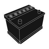 For automobile battery.Car single icon in black style vector symbol stock illustration web. Stock Photography