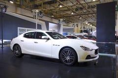 Automobile bianca di ghibli di maserati Immagini Stock Libere da Diritti