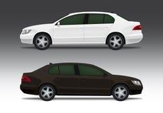 Automobile bianca e marrone della berlina Fotografie Stock Libere da Diritti