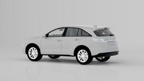 Automobile bianca generica di SUV isolata su fondo bianco, vista posteriore Fotografia Stock
