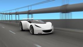 Automobile bianca sulla carreggiata royalty illustrazione gratis