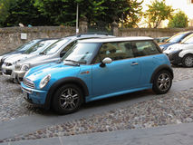 Automobile blu-chiaro di Mini Cooper Fotografia Stock