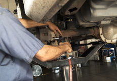 Automobile brakes repair mechanic Royalty Free Stock Image