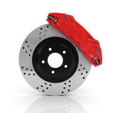 Automobile braking system. Aeration steel brake disk with perforation and red six pistons calipers and pads. Tuning auto parts. Isolated on white background royalty free illustration