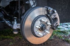 Automobile braking system and brake disk with support stock image