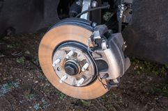 Automobile braking system and brake disk with support stock photo