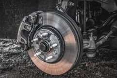 Automobile braking system and brake disk with support royalty free stock photo