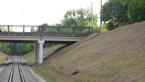 Automobile bridge over the railway. Full HD video. Horizontal panorama stock video footage