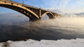 Automobile bridge in winter morning stock video footage