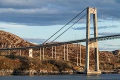 Automobile cable-stayed bridge. Rorvik town, Norway Stock Photo
