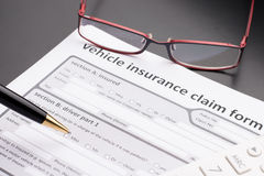 Automobile, Car Insurance Policy. On table Royalty Free Stock Photography