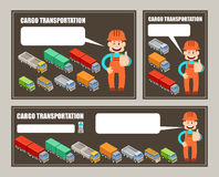 Automobile cargo transportation. Leaflet,  banner, poster. Vector illustration Stock Photos