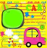Automobile caricata per un viaggio Sun, palme e gabbiani Immagine Stock Libera da Diritti