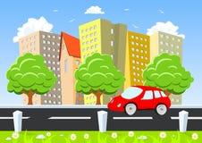 Automobile che si muove attraverso la città royalty illustrazione gratis