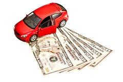 Automobile, chiave e soldi Fotografia Stock