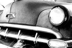 Automobile Classic. Black and white image of the front end of an old car Stock Photography
