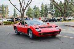 Automobile classica di Lamborghini Miura su esposizione Fotografie Stock Libere da Diritti