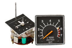 Automobile clock and tachometer Royalty Free Stock Images