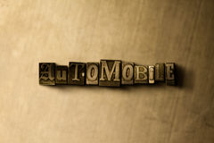 AUTOMOBILE - close-up of grungy vintage typeset word on metal backdrop Stock Photos