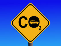 Automobile CO2 emissions. Warning CO2 emissions from automobile sign illustration Stock Image