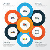 Automobile Colorful Outline Icons Set. Collection Of Auto, Carcass, Van And Other Elements. Also Includes Symbols Such. Automobile Colorful Outline Icons Set Stock Photography