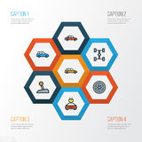 Automobile Colorful Outline Icons Set. Collection Of Car, Electric, Machine And Other Elements. Also Includes Symbols. Automobile Colorful Outline Icons Set Royalty Free Stock Photos