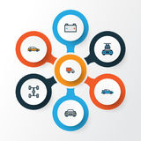 Automobile Colorful Outline Icons Set. Collection Of Carcass, Automobile, Washing And Other Elements. Also Includes. Automobile Colorful Outline Icons Set Stock Photography