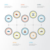 Automobile Colorful Outline Icons Set.. Collection Of Electric, Machine, Speed And Other Elements Royalty Free Stock Images