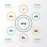 Automobile Colorful Outline Icons Set. Collection Of Pickup, Van, Machine And Other Elements. Also Includes Symbols Such Stock Image