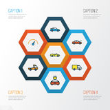 Automobile Colorful Outline Icons Set. Collection Of Track, Sport, Bonnet And Other Elements. Also Includes Symbols Such. Automobile Colorful Outline Icons Set Stock Images