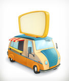 Automobile con l'insegna, carretto dell'alimento royalty illustrazione gratis